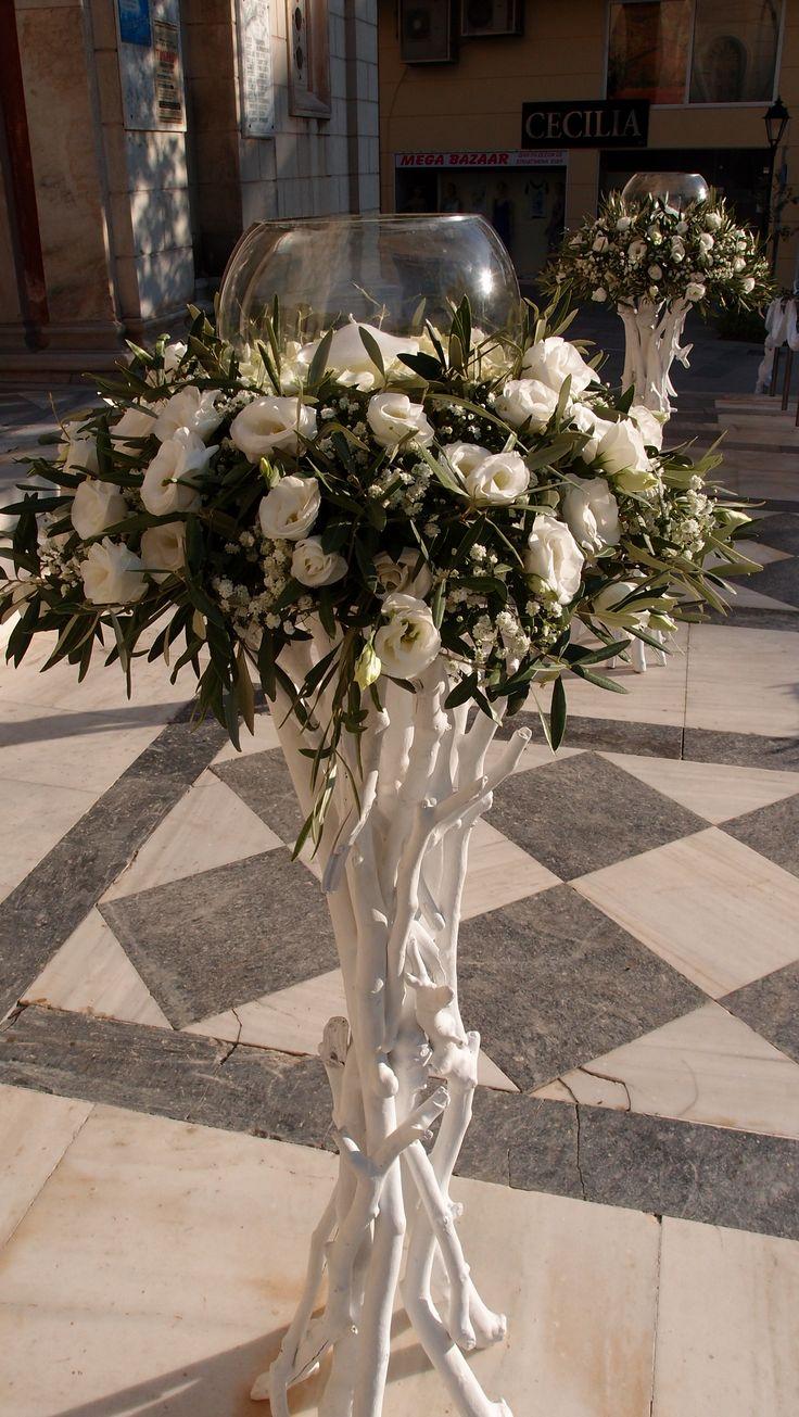 λαμπάδες με λυσίανθο γυψοφίλη και φύλλωμα ελιάς...Δεξίωση | Στολισμός Γάμου | Στολισμός Εκκλησίας | Διακόσμηση Βάπτισης | Στολισμός Βάπτισης | Γάμος σε Νησί & Παραλία