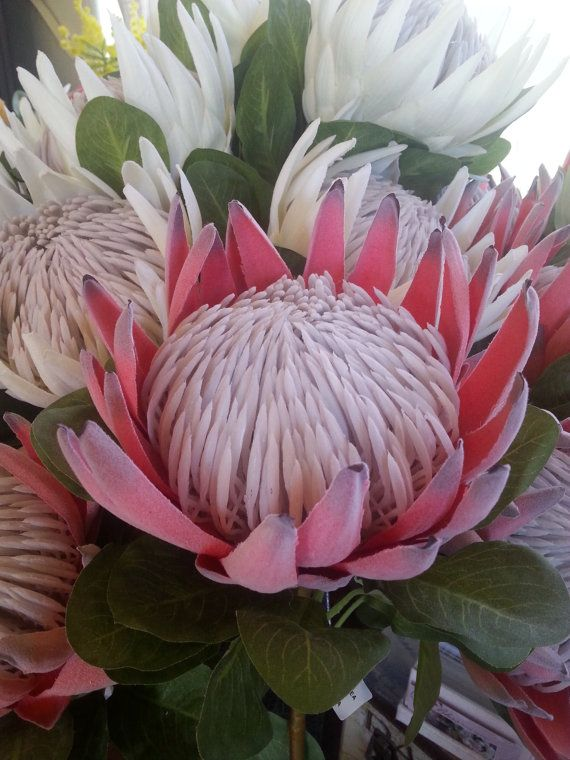Rust Red King Protea - artificial silk flower.  Perfect for DIY wedding, home decor and craft