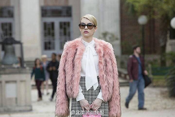 White chiffon top + houndstooth skirt + fur coat