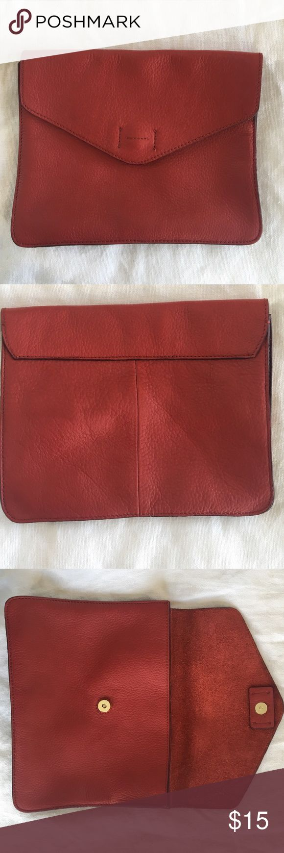 Red leather envelope clutch Clutch from Gap, very easy to carry! Great condition. GAP Bags Clutches & Wristlets