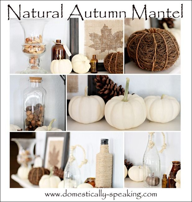 I like the framed leaf shape. Natural Autumn Mantel @ Domestically Speaking