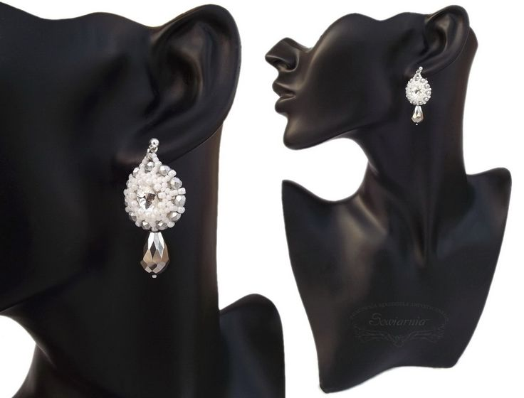 Bridal earrings with rivoli crystals