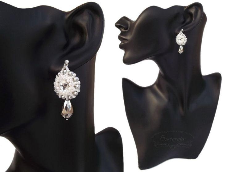 Bridal earrings with rivoli crystals