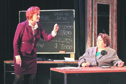 Mary Lee as Shelly Levene and Priscilla McRoberts as Richard Roma in WIT's 2012 production of Glengarry Glen Ross