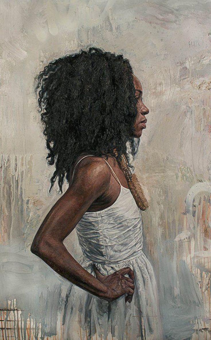 """Vigilance"" - Tim Okamura (Canadian, b. 1968), oil on canvas board {figurative art female profile standing African-American black woman #naturalhair painting grunge drips} timokamura.com"