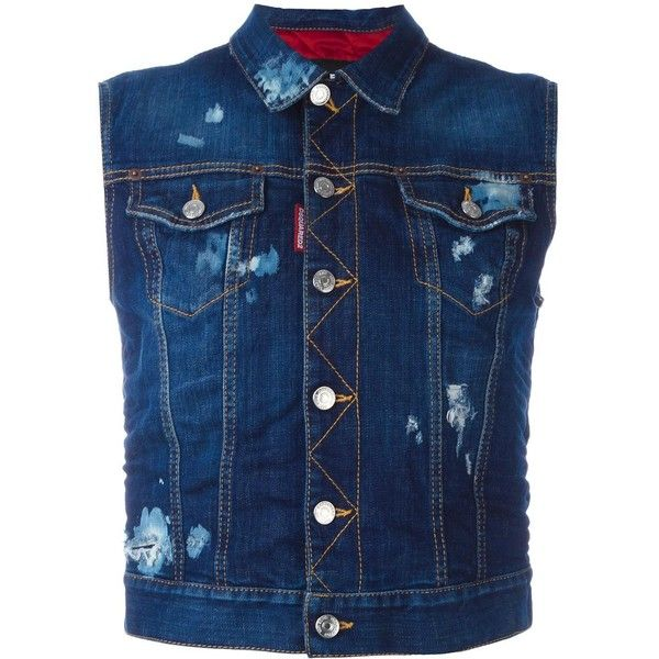 Dsquared2 Ski sleeveless denim jacket (784 CAD) ❤ liked on Polyvore featuring outerwear, jackets, blue, blue ski jacket, stitch jacket, quilted denim jacket, denim jackets and blue jean jacket