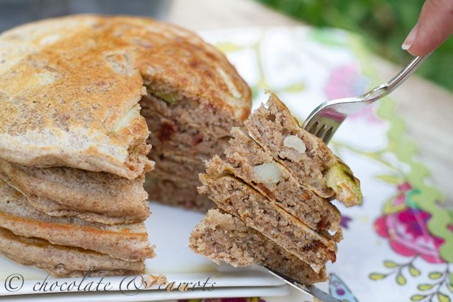 Whole Wheat Apple Bacon Pancakes | 6 degrees of Bacon | Pinterest