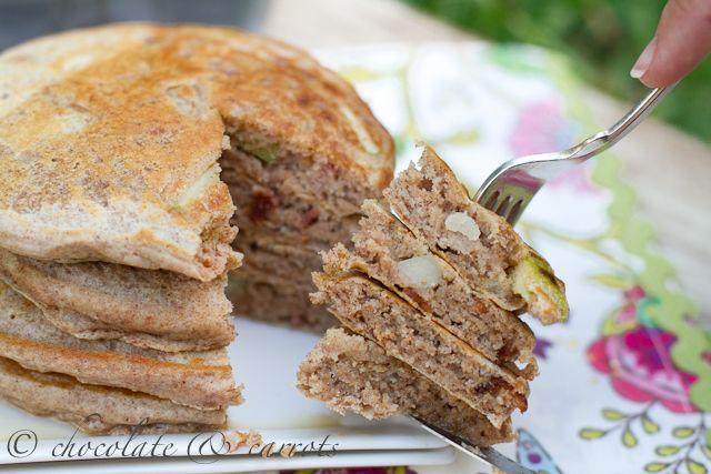 Whole Wheat Apple Bacon Pancakes | 6 degrees of Bacon | Pinterest