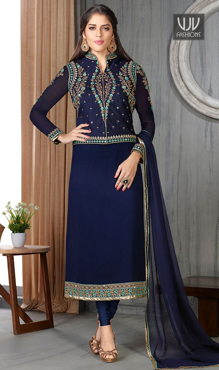 Exciting Navy Blue Embroidered Work Churidar Designer Suit  Include yourself with the glamour of the season with this navy blue faux georgette churidar designer suit. This wonderful attire is showing some fantastic embroidery done with embroidered work.