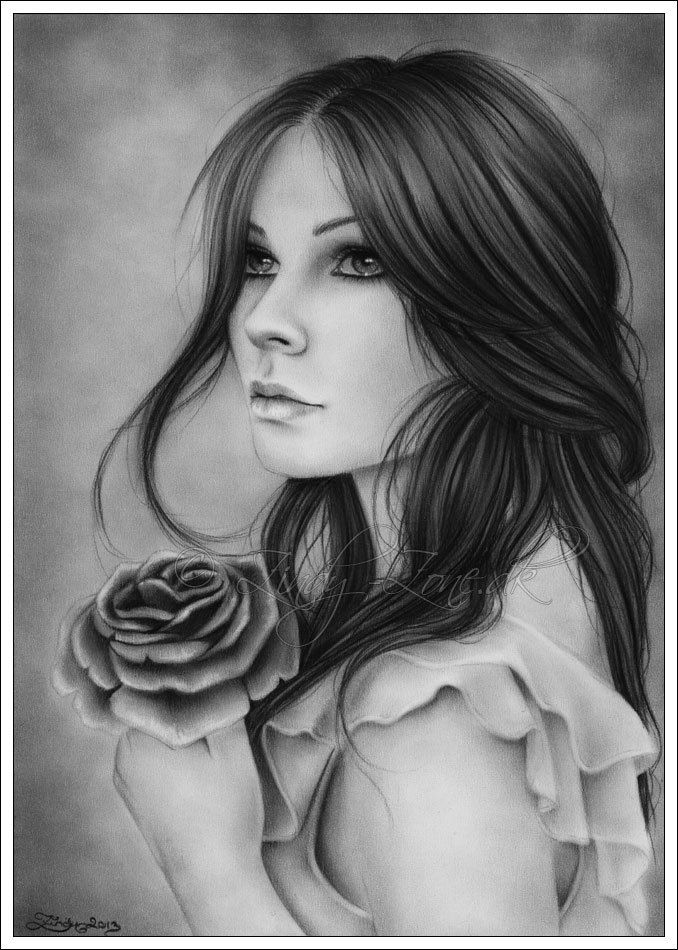 A Broken Promise Rose Flower Girl Portrait Art Print by zindyzone