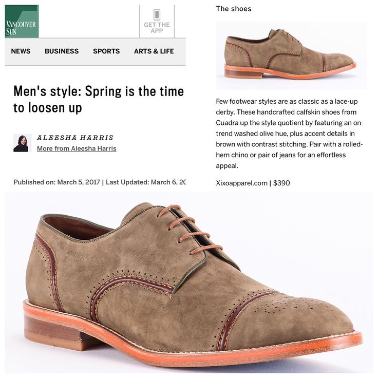 A big THANK YOU to Aleesha Harris, Style Editor at The Vancouver Sun newspaper for featuring our Cuadra handmade olive leather shoes on her Men's Spring Style Guide. #handmadeshoes #designershoes #springfashion #menshoes #classicshoes #derbyshoes #madeinmexico #mensfashion #menstyle #vancouverfashion #vancouverstyle #vancouverfashionblogger #luxury #fashioncanada #luxuryshoes #luxurybrand #vancouvershopping #shoplocalvancouver #bestshoesinvancouver