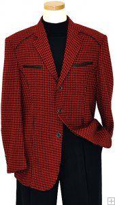 Inserch Red/ Black Houndstooth Blazer With Black Leather Trim 471
