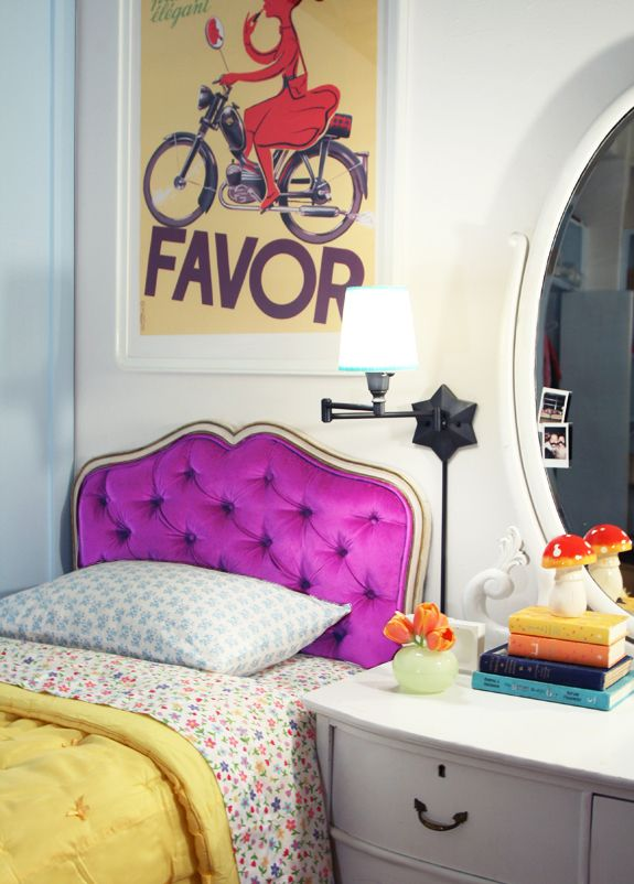 bright purple headboard (upcycle tutorial)Guest Room, Small Bedrooms, Little Green Notebook, Tufted Headboards, Kids Room, Girls Room, Head Boards, Diy Headboards, Bold Colors