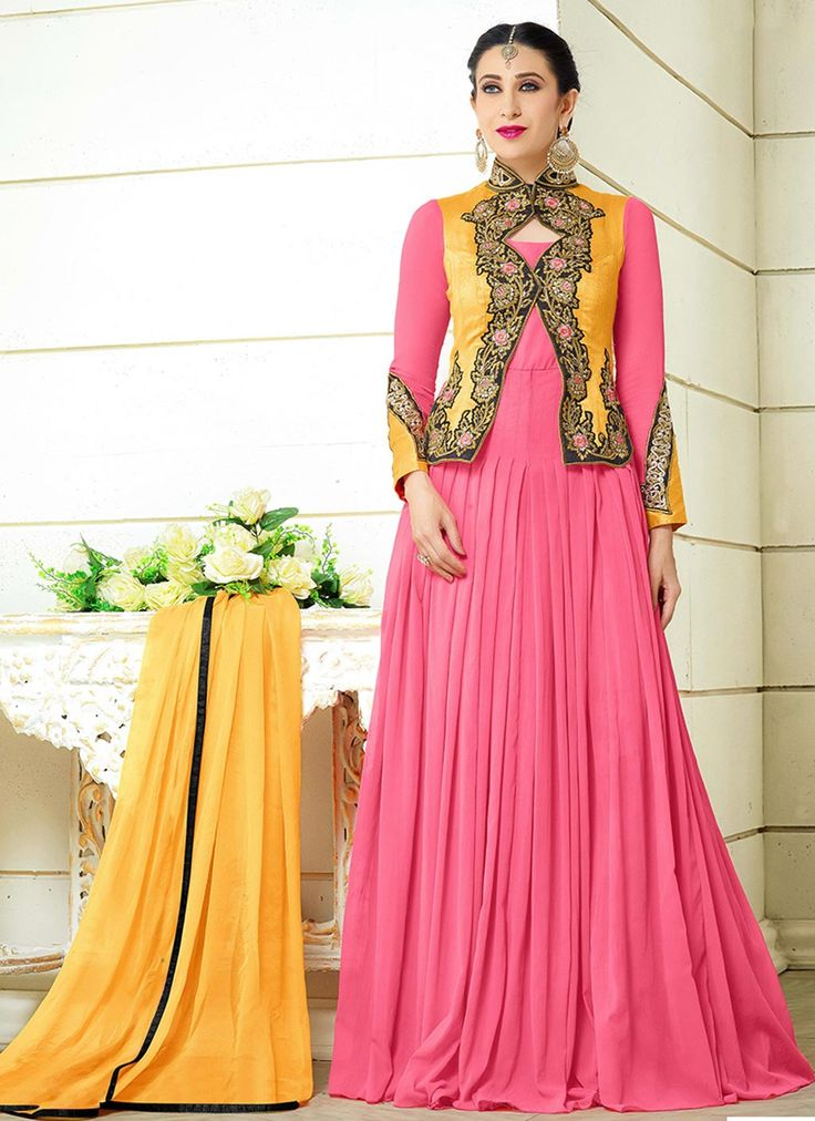 Karisma Kapoor Pink Faux Georgette Bollywood Suit 63808