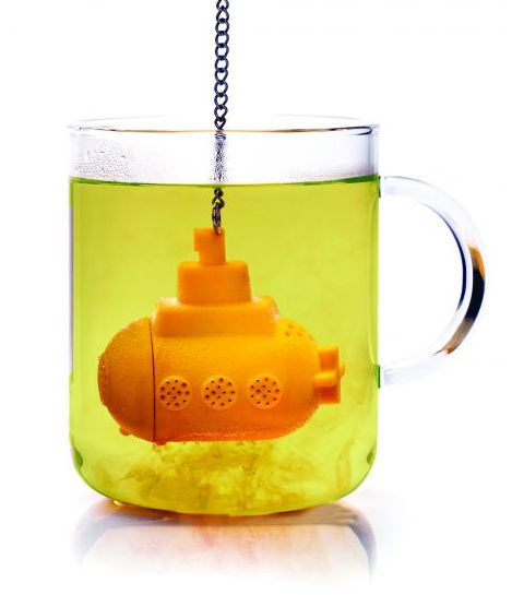 Tea Sub, sold at Fred Flare.     This fun little tea infuser helps you make the perfect brew—just put your favorite loose tea inside the compartment, and submerge! Made with dishwasher safe, heat resistant silicone.