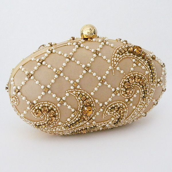 Moyna Beaded Evening Bags   Oval Shaped Pale Gold Evening Bag