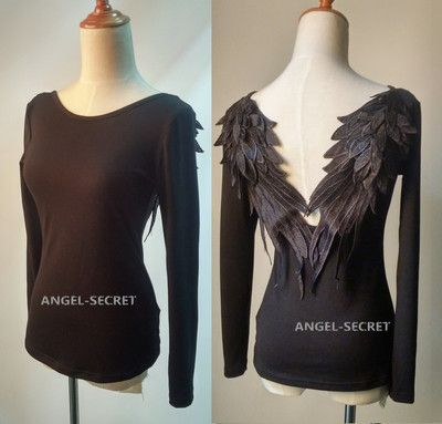 BM52 BLACK DARK ANGEL MALEFICENT WINGS TEE TOP LOLITA GOTHIC Swan BACKLESS