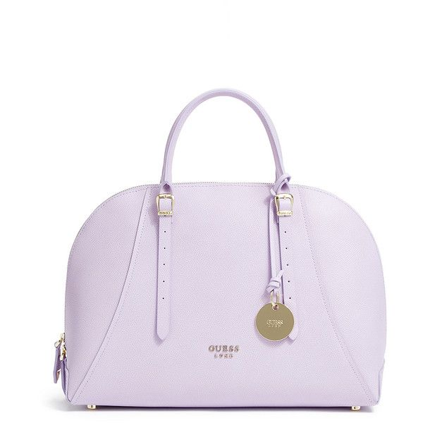 GUESS Lady Luxe Dome Satchel ($139) ❤ liked on Polyvore featuring bags, handbags, lilac, lilac purse, dome satchel bag, dome satchel handbag, guess purses and guess bags