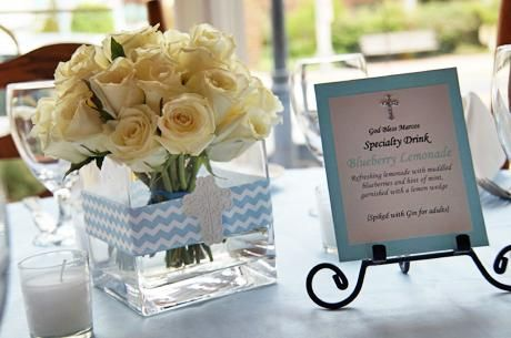 Centerpiece including specialty drink menu, chevron first communion | Be Envied Entertaining