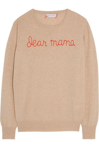 Lingua Franca - Dear Mama Embroidered Cashmere Sweater - Beige - x small