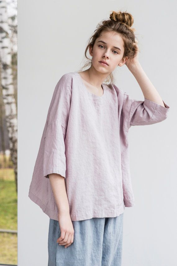 Washed and soft loose linen top with drop shoulder sleeves