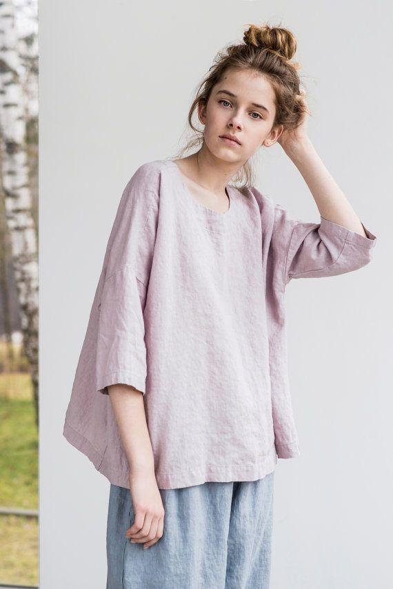 Loose linen top with drop shoulder sleeves / by notPERFECTLINEN