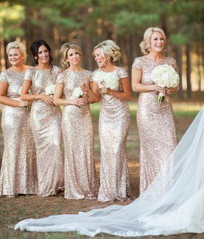 Women Sparkly Rose Gold Long Sequins Bridesmaid Dress Prom/Evening Gowns US6