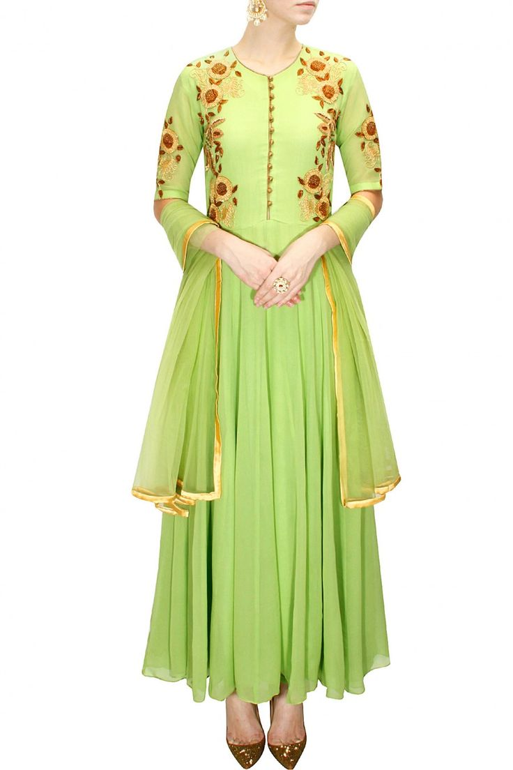 Olive green dabka flower embroidered kurta set available only at Pernia's Pop-Up Shop.