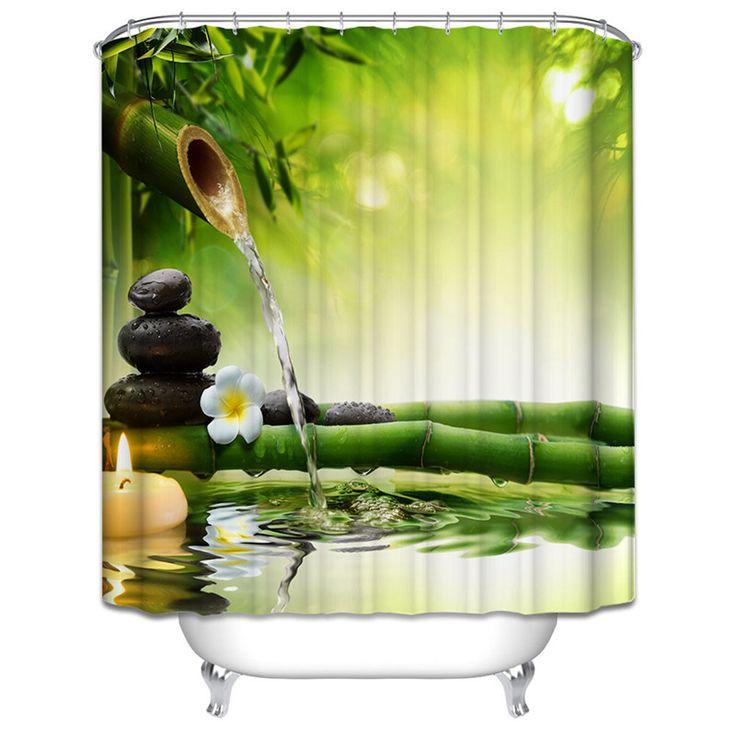 SPA Wasserdicht Duschvorhang Badezimmer Dekor Jasmin Blume Dekorationen  Grün Bambus/Herbst Bäume/Star Fisch Meer Shell