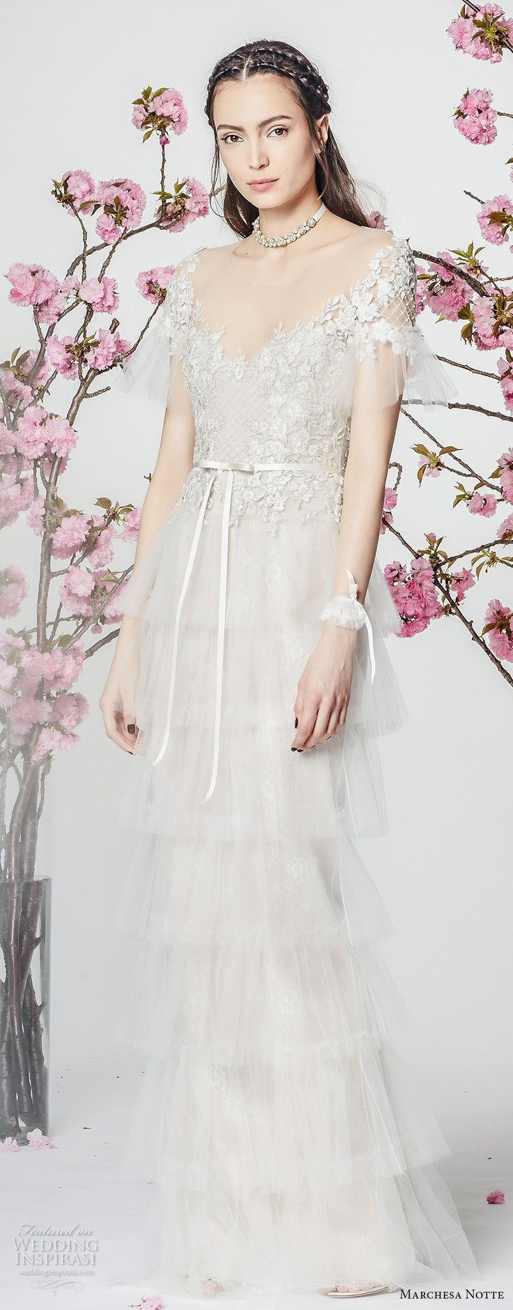 marchesa notte spring 2018 bridal short sleeves scoop neckline heavily embellished bodice layered skirt romantic column wedding dress (9) mv -- Marchesa Notte Spring 2018 Wedding Dresses