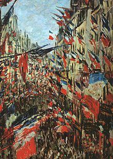La calle Montorgueil con banderas, 1886.