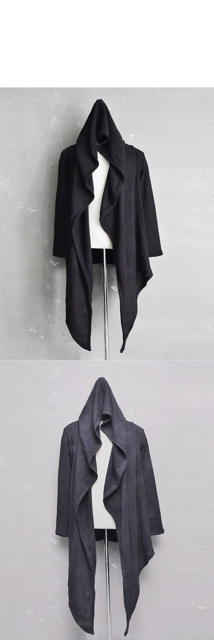 Sales :: Avant-grade Unbalance Waffle Knit Hood Cape-Coat 85 - GUYLOOK Men's Trendy Fashion Clothing Online