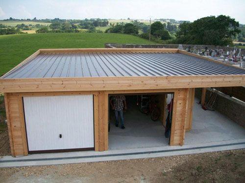 garage toit plat avec buché