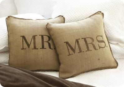 Pretty much the best website ever: knockoff DIYs of retail decor. (anthropologie, ballard design, crate & barrel, land of nod, pier 1, pottery barn, restoration hardware, urban outfitters, west elm, williams-sonoma and others). Truly some of the neatest ideas ever!! Mrs & Mrs burlap pillow