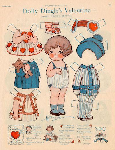 Dolly Dingle's Valentine 1927 Paper Dolls