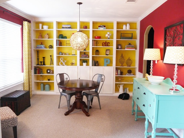 Dining room reveal with built in Billy bookcases