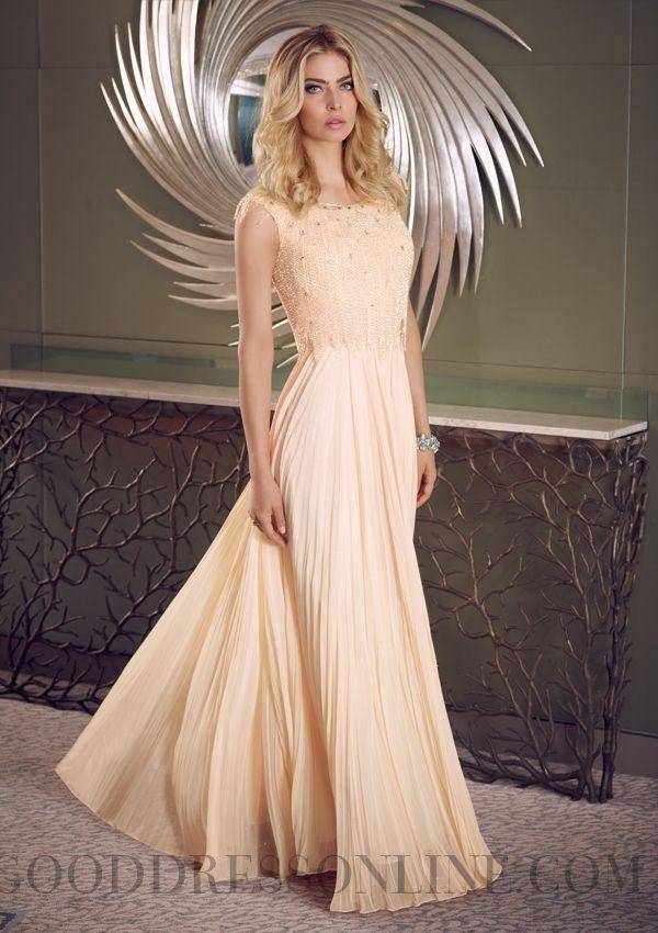 2015 New A-line Floor-length Scoop Chiffon Prom Dresses