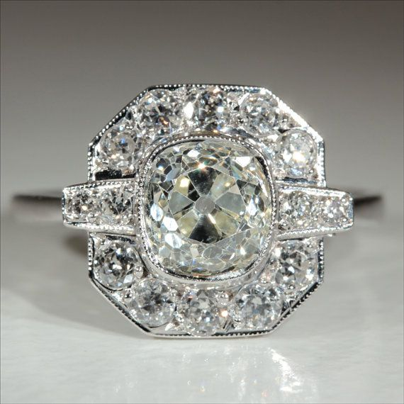 Vintage Art Deco 2.4ctw Diamond Engagement by VictoriaSterling
