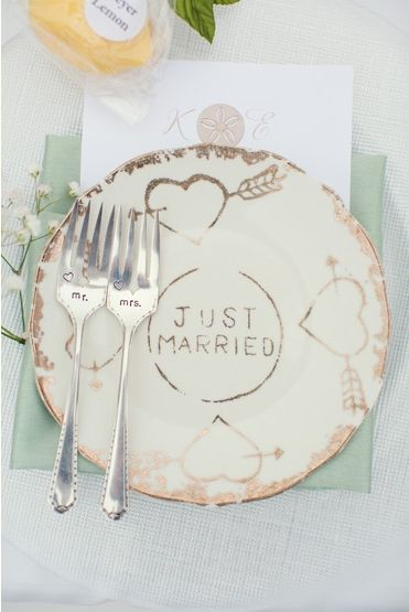 """Custom """"Just Married"""" place setting. Photo by Joshua Aull Photography. www.wedsociety.com #wedding #justmarried #vintage"""