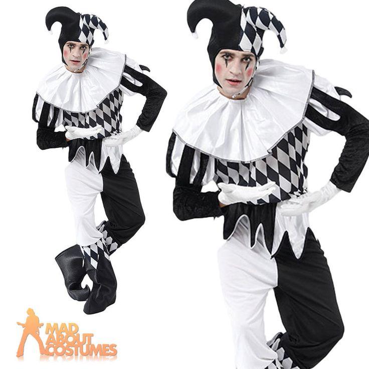 Adult Male Harlequin Costume Jester Joker Halloween Horror Carnival Fancy Dress
