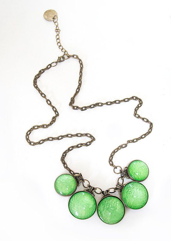 Green Statement Necklace  Foam Green Necklace Antique by oomanooti