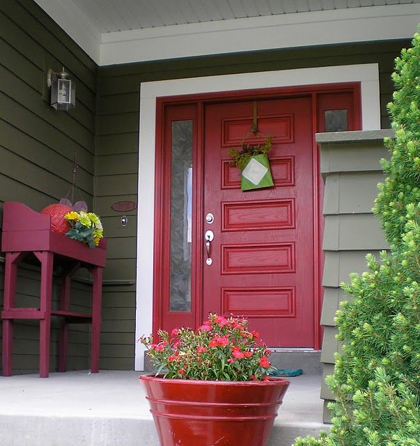 Dark Red Front Door best 25+ green house exteriors ideas on pinterest | green exterior