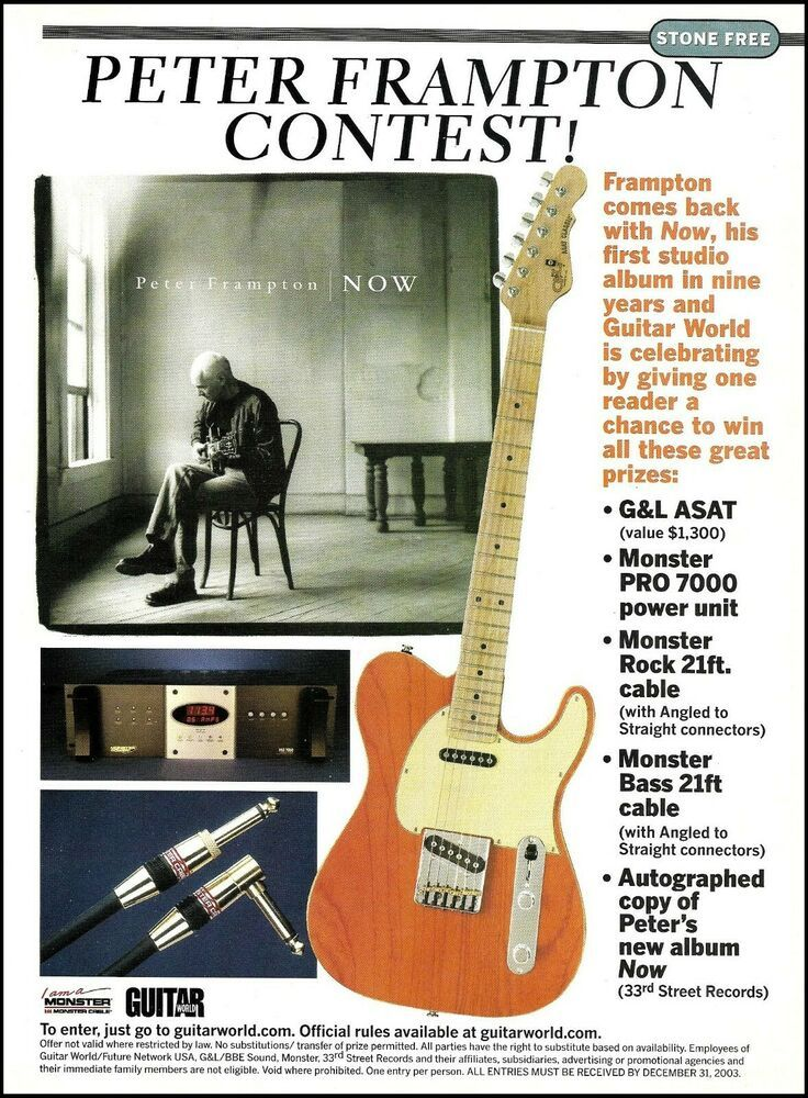 Peter Frampton 2003 G L Asat Guitar Contest Advertisement 8 X 11 Ad Print In 2020 Peter Frampton Now Albums Guitar