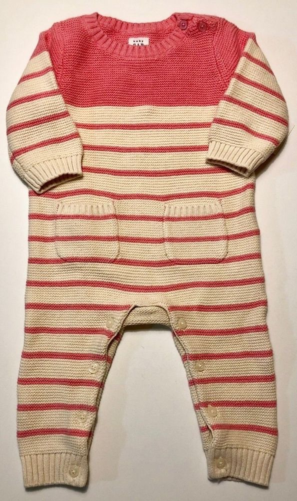 a866eaf1432 Baby Gap Girl 3-6 Months Pink White Striped Sweater Knit One Piece Romper   fashion  clothing  shoes  accessories  babytoddlerclothing ...
