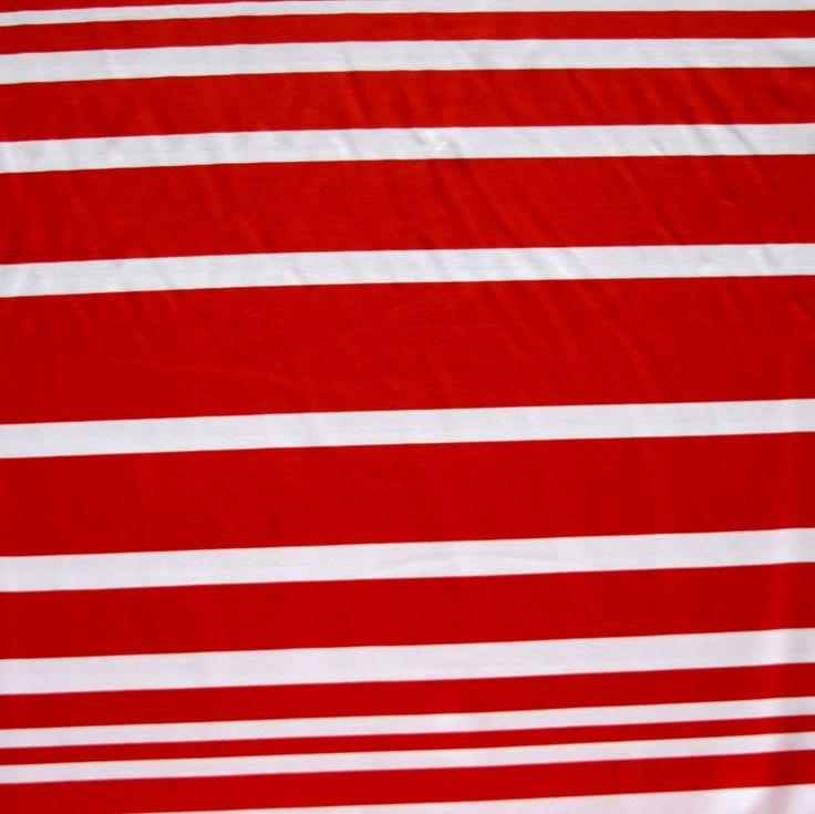 Red and White Thick and Thin Stripes Nylon Lycra Swimsuit Fabric