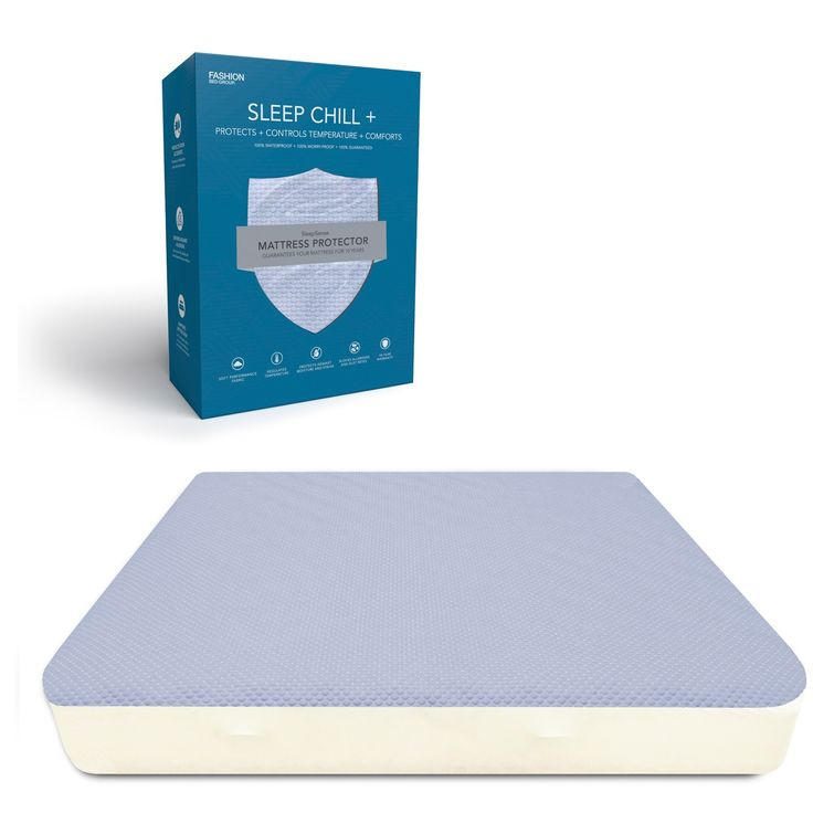 Sleep Chill Crystal Gel Mattress Protector With Cooling Fibers And Blue 3 D Fabric By Fashion Bed Group