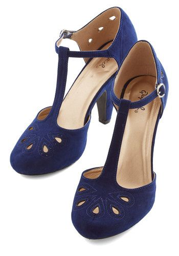 Dynamic Debut Heel in Navy - Blue, Solid, Cutout, Daytime Party, Good, High, Party, Work, Vintage Inspired, 20s, 30s, Faux Leather, Variatio...