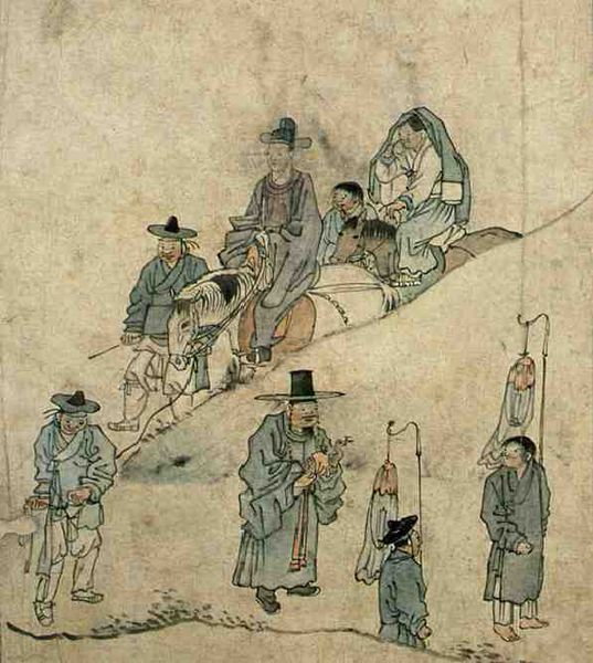 (Korea) On the way for Wedding by Kim Hong-do (1745-1806). ca 18th century CE. colors on paper.