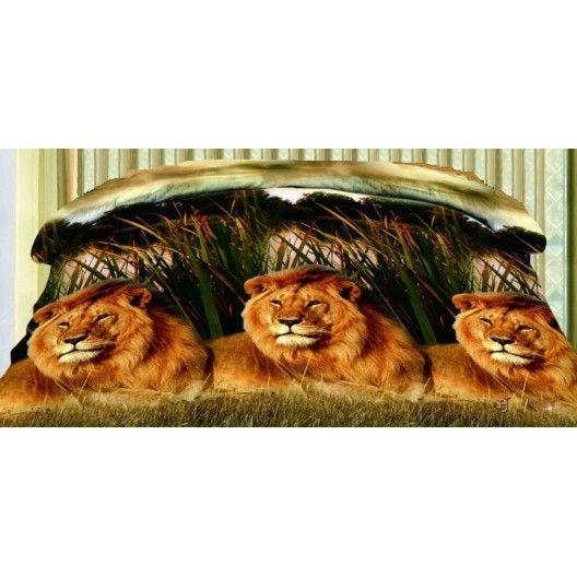 Hnedý 3D obojstranný prehoz na posteľ s levmi