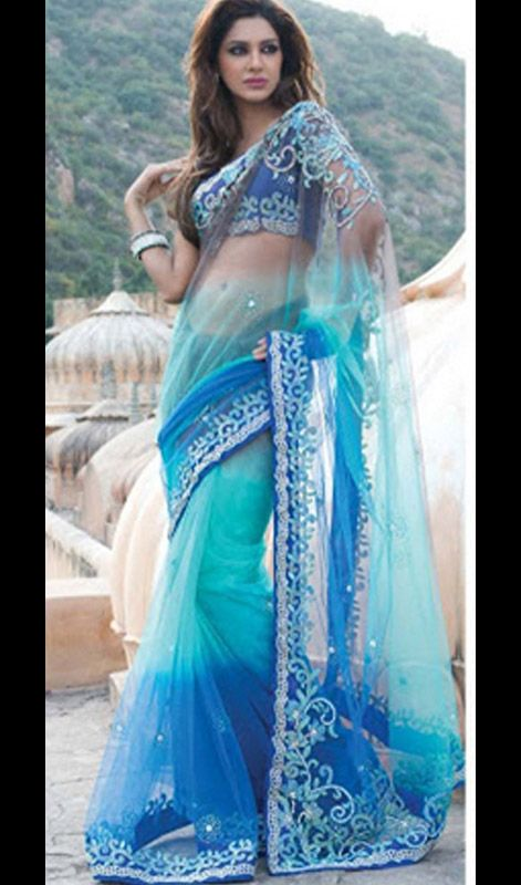 Tantalizing Deep Blue Embroidered Saree Price: Usa Dollar $431, British UK Pound £254, Euro317, Canada CA$467 , Indian Rs23274.